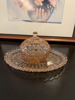 Vintage pink candy dish jar chinoiserie for Sale in Biscayne Park, FL