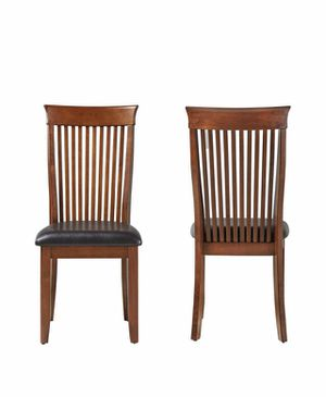 2 NEW WOODEN AND LEATHER CHAIRS STILL IN BOX for Sale in West Jordan, UT