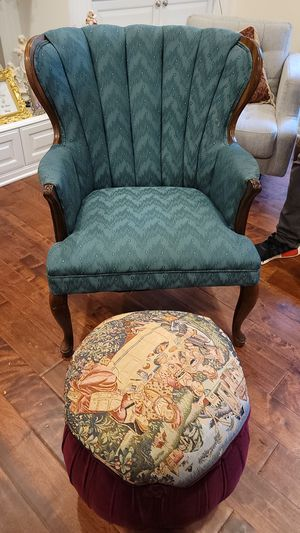 Turquoise Chair, footstool and 2 Wooden Table Set for Sale in Bloomfield Hills, MI
