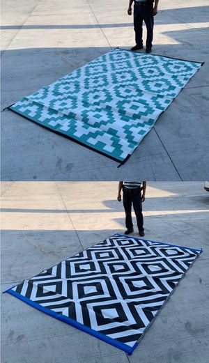 New $25 each 6x9 feet large outdoor park beach camping patio mat water resistant reversible outdoor carpet black or green color for Sale in Pico Rivera, CA