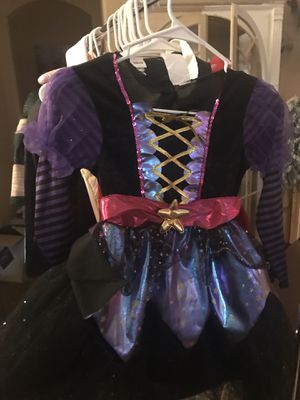Halloween Costume Purple And Pink Beautiful Witch or Fairy if you add wings and Sparkles with Glitter inlay Black tulle Gold Girls dress up size kids for Sale in Glendale, AZ