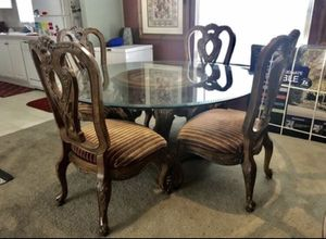 Antique Dinning Table with glass top for Sale in Kissimmee, FL