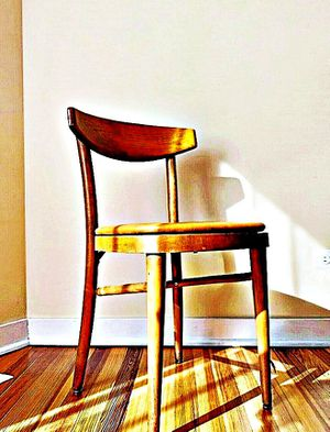 Wooden Shelby Williams Industries MCM chairs (4) with leather seat cushion. for Sale in Boston, MA