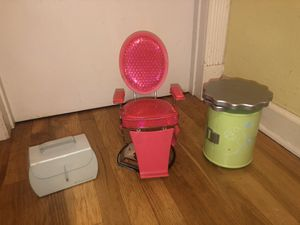 American Girl Doll Salon Kit!! Including chair and storage containers! for Sale in Pompano Beach, FL
