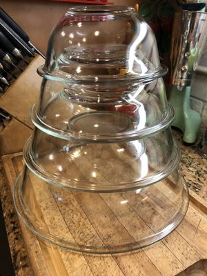 Set of 4 Vintage Pyrex Clear Glass Mixing Nesting Bowls-322-323-325-326 USA for Sale in Etiwanda, CA