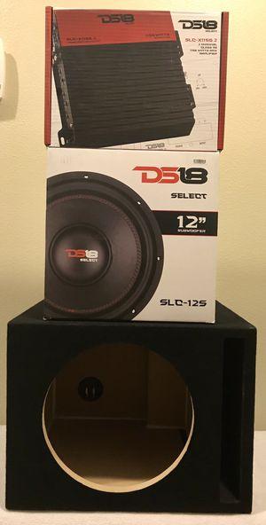 "New 12"" inch DS18 Car Audio 500 Watts Bass Subwoofer + 1150 Watts DS18 Bass Amplifier w/ Speaker Box 🔊🔥💰 for Sale in Hemet, CA"