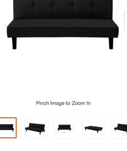 Zoren 33.1 in. Black Fabric 3-Seater Armless Convertible Tuxedo Sofa by Serta for Sale in Columbus,  OH