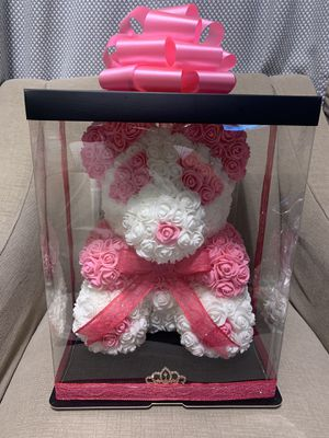 Rose bear Big 15 inches Beautiful foam rose 🌹 bear perfect gift 🎁 for Christmas 🎄 wedding 👰, birthday 🎂 anniversary or just to show how much you love for Sale in Los Angeles, CA