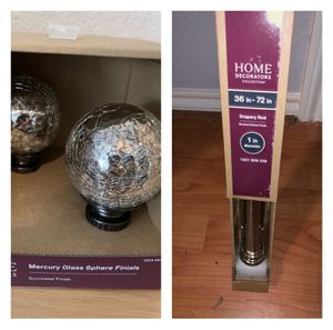 Home decorators set - nickel finish rod and glassy finials - brand new for Sale in Dallas, TX