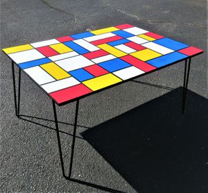 "35""x24"" ORIGINAL HAND MADE WOOD COFFEE TABLE. 16"" TALL. DE STIJL STYLE. for Sale in Cincinnati, OH"