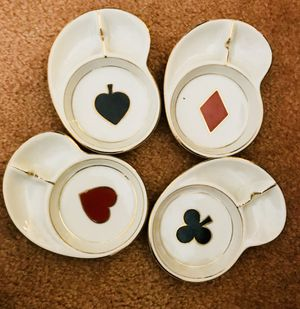 Antique porcelain card suit coasters for Sale in Gaithersburg, MD