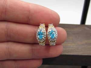 Sterling Silver Blue Cubic Zirconia & Diamond Earrings Vintage Wedding Engagement Anniversary Beautiful Everyday Minimalist Cute Sexy Cool for Sale in Everett, WA