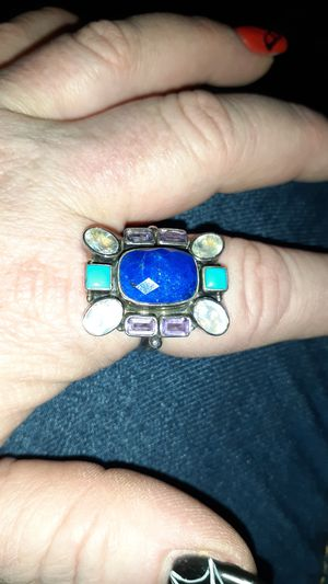 Size 10 designer Nicky Butler sterling silver lapis turquoise amethyst Moonstone ring for Sale in Mesa, AZ