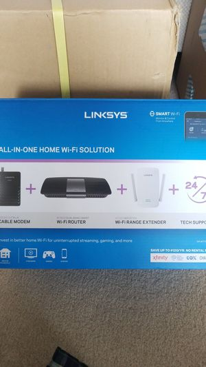Linksys AC1600 Wi-Fi Wireless Dual-Band + Linksys CM3008 High Speed DOCSIS 3.0 8x4 Cable Modem All-in-One Home Wi-Fi Solution for Sale in Alexandria, VA