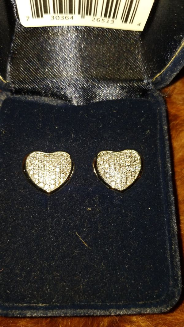 Heart Earrings Pave set Swarovski Montana Silversmiths sterling Silver