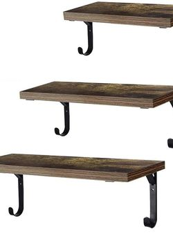 Set of 3 Wall Mounted Rustic Wood Wall Storage Shelf for Sale in Irving,  TX