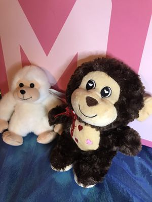 2 plush stuffed monkeys white and brown! New! for Sale in Savannah, GA