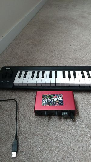 Focusrite 2i2 and korg 42 keys for sale like brand new only 2 weeks of use for Sale in Coldwater, MI