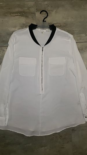 Calvin Klein size extra large XL black collared zip up pockets in front long sleeve white shirt alternative rock casual designer Halloween costume for Sale in Scottsdale, AZ