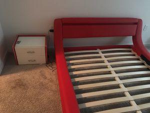 Leavitt upholstered platform bed plus Janae modern 2 drawer nightstand for Sale in Rockville, MD