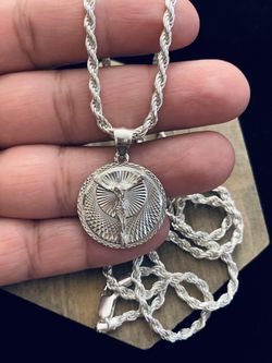 PLATA /UNISEX/ ROPE /925 STERLING SILVER CHAIN WITH PENDANT for Sale in Whittier,  CA