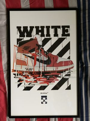 Off-white Nike air Jordan print and poster in glass frame for Sale in City of Industry, CA