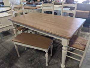 Farmhouse Dining table with 4 chairs and bench for Sale in Raleigh, NC