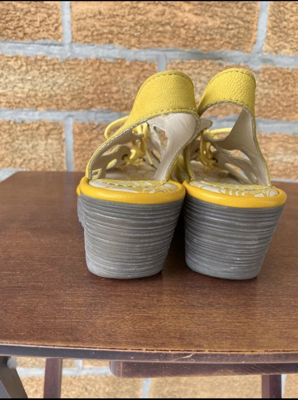 FLY London Leather Lace Up Wedge Sandals Size 7.5