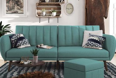 Brand New!! In Box!! Very Stylish Couch/Sofa Futon - Premium Upholstery and Wooden Legs - Light Blue for Sale in Phoenix,  AZ