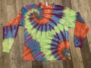 Handmade cotton tie dye long sleeve TShirt hippie boho shabby groovy spiral Unisex Adult XL West York for Sale in York, PA