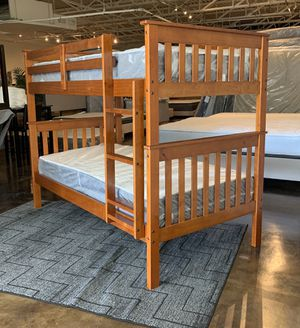 "Solid pine light espresso bunk bed plus 8"" plush mattresses (free delivery) for Sale in Austin, TX"
