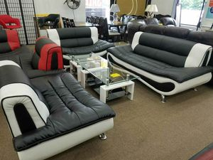 New in box black and white faux leather sofa loveseat and chair for Sale in Beltsville, MD