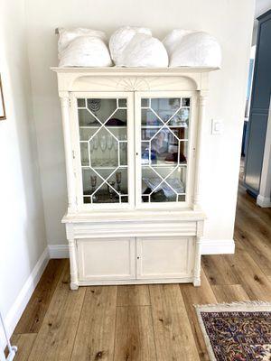Cream antique china cabinet for Sale in Agoura Hills, CA