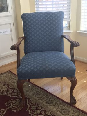 Blue cloth accent chair. Call {contact info removed}. If interested. for Sale in Alexandria, VA