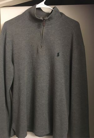 Gray Ralph Lauren Leather Zipper Pull over for Sale in Greenville, SC