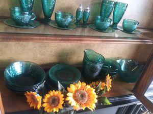32 Piece Tiara Glassware Set Spruce Green for Sale in McAllen, TX