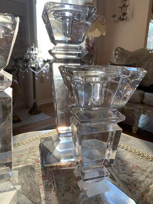 3 Piece Lugano Czech 24% Lead Crystal Candle Holders for Sale in Farmington Hills, MI