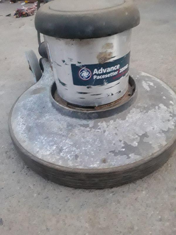 Low speed, floor carpet scrubber