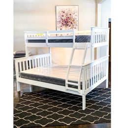White Twin Over Full Bunk Bed Set With Plush Mattress Included for Sale in Austin,  TX
