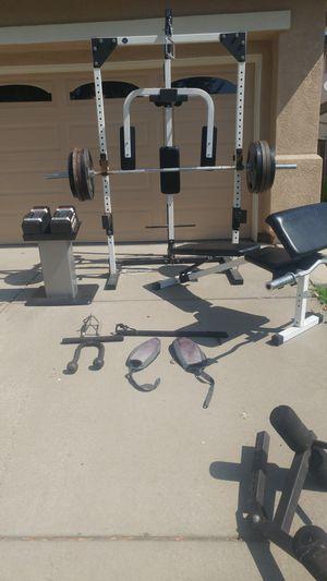 Tuff Stuff Package: 340 lbs, bars, bench, rack, Powerblocks for Sale in Elk Grove, CA