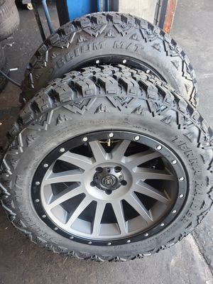 JEEP WRANGLER WHEELS 20X10 AND TIRES 33X12.50R20 BRAND NEW 👌 $1490 SET OF FOUR BEST PRICE ON TOWN for Sale in Anaheim, CA