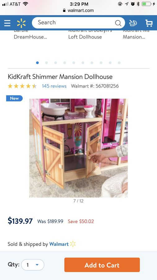 Kidkraft Shimmer Mansion Dollhouse With 30 Accessories For Sale In