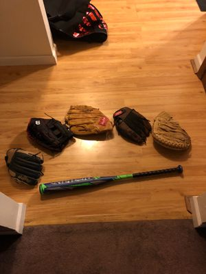 5 baseball gloves + bat ( red and black glove in brand new condition ) for Sale in Eldridge, IA