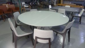 Modloft Carlisle Dining Table Top in Ice Glass, Base in Ice Matte Steel | Reg. $2,499 for Sale in North Miami Beach, FL