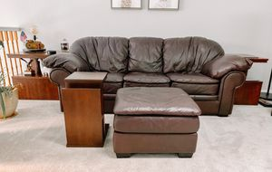 Leather Sofa and ottoman, 2 end tables, 1 accent table and a TV Stand for Sale in Westminster, CO
