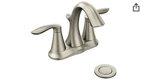 Moen Eva Two-Handle Centerset Bathroom Faucet with Drain Assembly, Brushed Nickel (6410BN) for Sale in Alexandria, VA