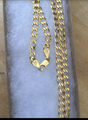 24 inch Real 925 Italian Sterling Silver Curb chain plated with 24k gold for Sale in La Puente, CA