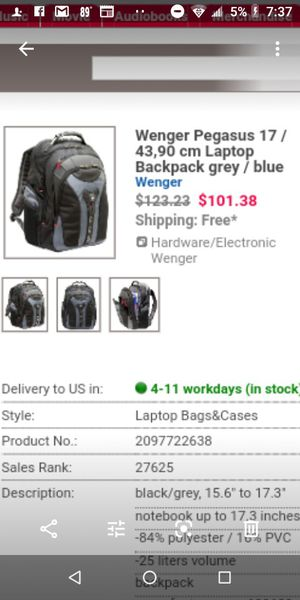 "Swiss company Pegasus 17"" Laptop Backpack only $60.00 for Sale in Riverside, CA"