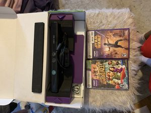 XBOX 360 Kinect with 2 games for Sale in Waltham, MA