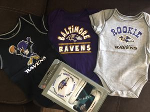 Ravens Baby onesies and crib shoe set for Sale in Millersville, MD